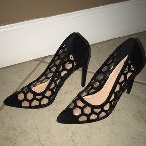 Velvet and see thru heels, never been worn.
